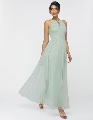 Monsoon Sophie Embellished Tulle Maxi Dress Green