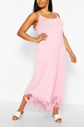 boohoo Plus Strappy Tassle Hem Maxi Dress