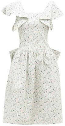 Batsheva Bow-back Floral-print Cotton-poplin Dress - Womens - Blue Multi
