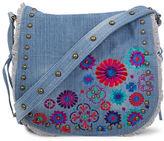 Steve Madden Jblume Floral-Embroidered Denim Messenger Bag