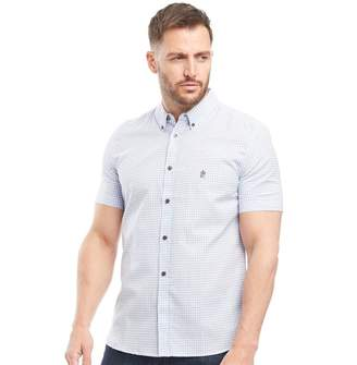 French Connection Mens Gingham Short Sleeve Shirt Sky Gingham