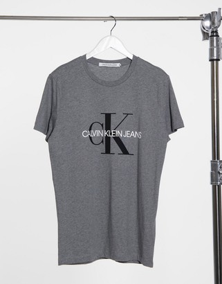 Calvin Klein Jeans iconic monogram slim t-shirt in grey-Black