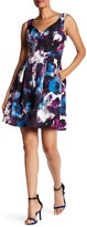Adrianna Papell V-Neck Floral Pleated Dress (Regular, Petite, & Plus Size)