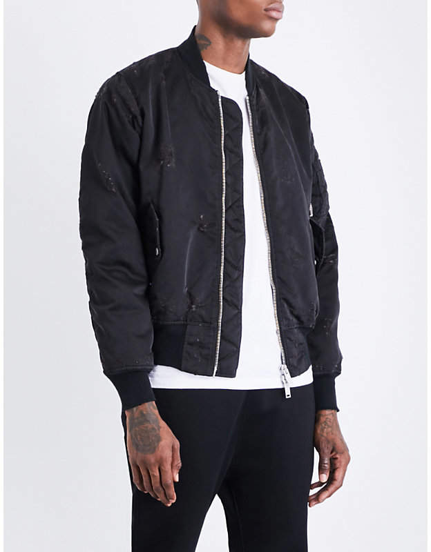 Unravel Distressed shell bomber jacket