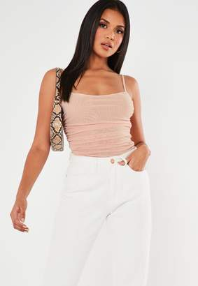 Missguided Blush Mesh Ruched Side Cami Top