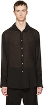 Ann Demeulemeester Black Sheer Two Button Shirt