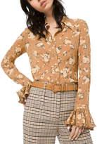 Michael Kors Floral-Print Crushed Bell-Sleeve Shirt