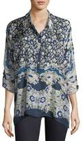 Johnny Was Wishing Printed Silk Georgette Blouse, Plus Size