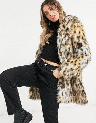 BB Dakota be here meow faux fur coat in brown