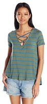 Eye Candy Junior's Stripe Swing Tee with Lace up Neck