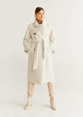 MANGO Faux shearling long coat ecru - XXS - Women