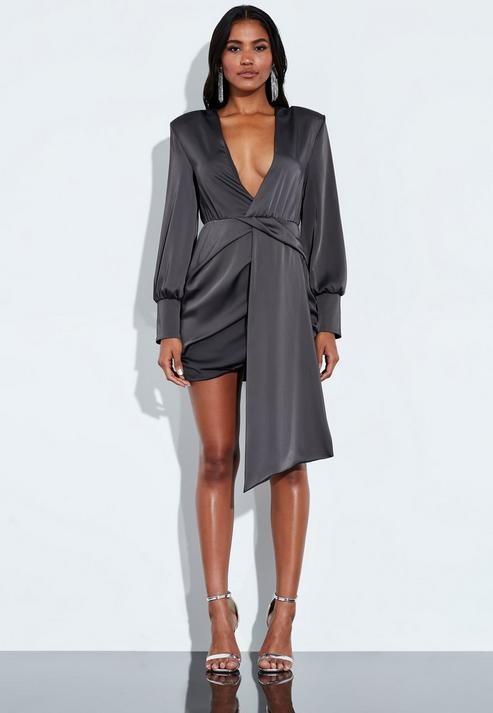 Missguided Gray Satin Wrap Front Drape Mini Dress