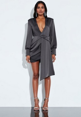 Missguided Gray Satin Wrap Front Drape Mini Dress