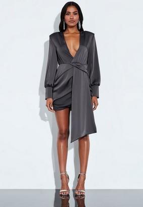 Missguided Grey Satin Wrap Front Drape Mini Dress