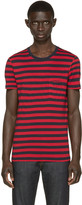 Burberry Navy & Red Striped T-Shirt