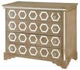 Stylecraft Solid Wood 4 Drawer Chest with Hexagon Mirror Inlay - Weathered White Wash