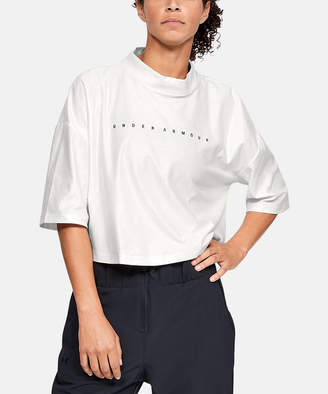 Under Armour Women's Tee Shirts Onyx - Onyx White Unstoppable Mock Cire Crop Tee - Women