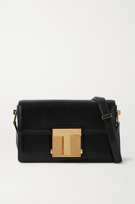 Tom Ford 001 Medium Lizard-effect Leather Shoulder Bag - Black