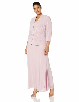 Alex Evenings Women's Plus-Size Long Dress with Button Front Jacket