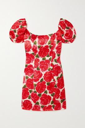 De La Vali Koko Floral-print Satin Mini Dress - Pink