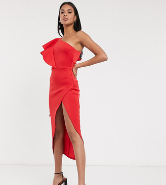 True Violet extreme wrap one shoulder midi dress in red