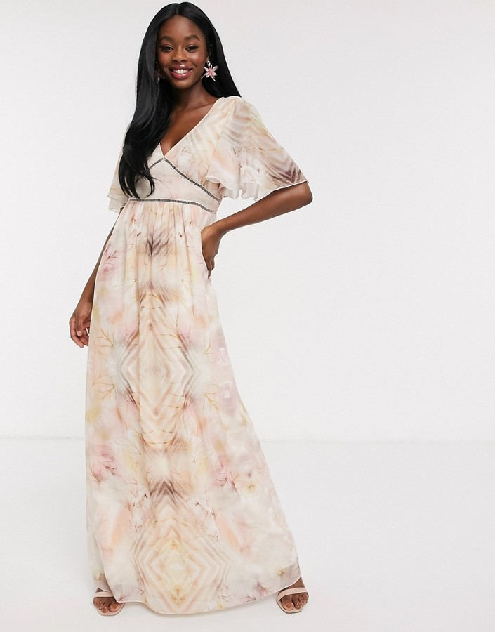 Little Mistress flutter sleeve maxi dress in marble print