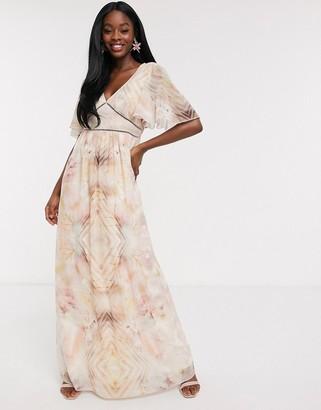 Little Mistress flutter sleeve maxi dress in marble print