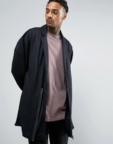 Asos Oversized Drapey Jersey Overcoat With Zip