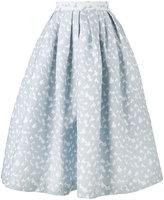 House of Holland heart jacquard midi skirt - women - Linen/Flax - 6
