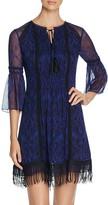 Elie Tahari Jeannie Lace Trim Silk Dress