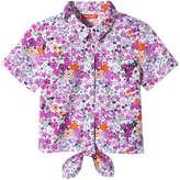 Joe Fresh Toddler Girls' Print Tie Front Shirt, Pink (Size 4)