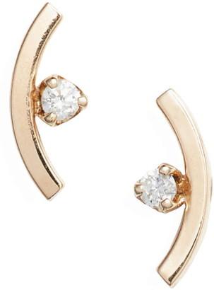 Zoë Chicco Diamond Curved Bar Stud Earrings