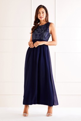 Yumi Sequin Detailed Maxi Dress