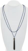 Rachel Reinhardt Silver Blue Lapis & Crystal Tassel Necklace