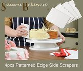 Patterned Edge Side Scrapers - Set of 4 - by Silicone-Bakeware®