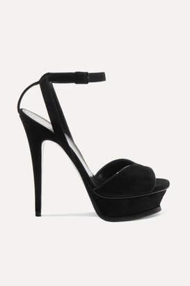 Saint Laurent Tribute Suede Platform Sandals - Black