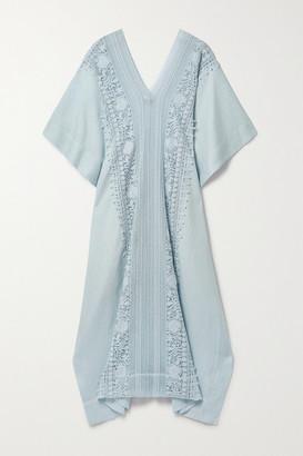 Miguelina Brea Oversized Crochet-trimmed Linen Kaftan - Sky blue
