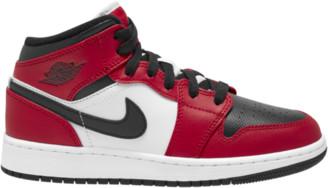Jordan AJ 1 Mid Basketball Shoes - Black / Gym Red