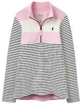 Joules Little Joule Girls' Stripe Print Sweatshirt, Rose Pink