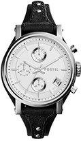 Fossil Women's ES3817 Original Boyfriend Stainless Steel Watch with Black Leather Band
