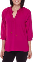 Sag Harbor 3/4-Sleeve Modern Geo Smocked Blouse