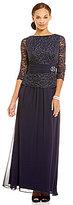 Jessica Howard Petite 3/4 Sleeve Ruched Waist Peplum Beaded Dress
