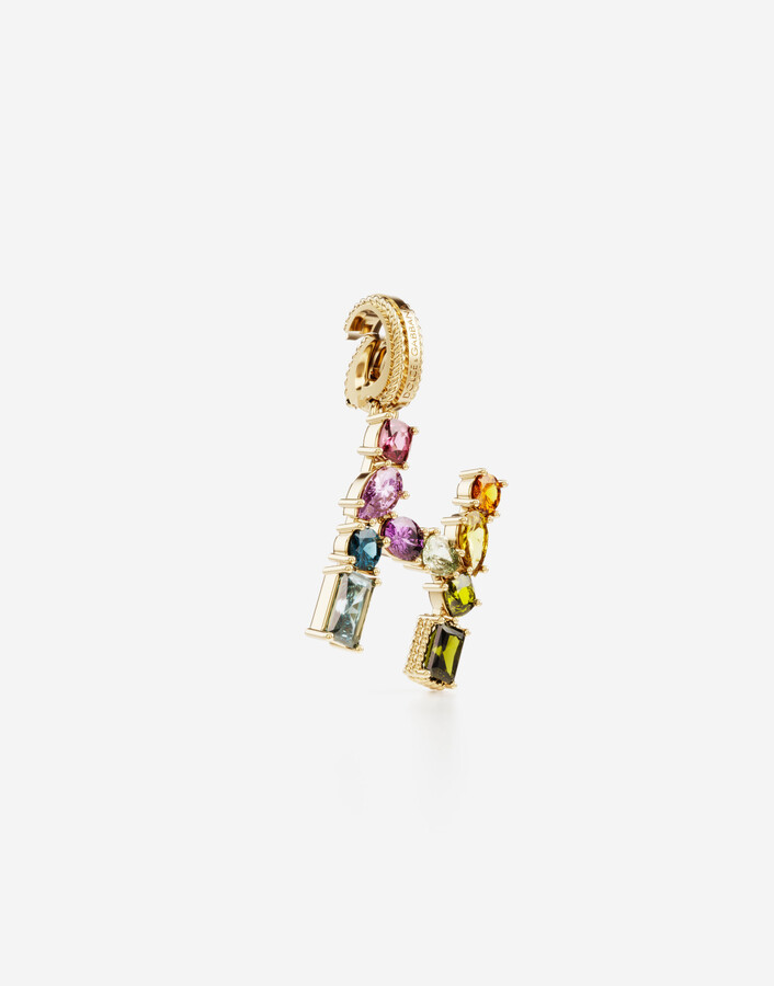 Thumbnail for your product : Dolce & Gabbana Rainbow alphabet H 18 kt yellow gold charm with multicolor fine gems