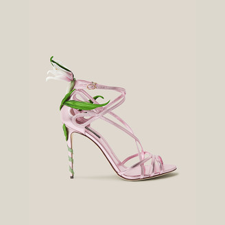 Dolce & Gabbana Pink Lily-Appliqued Metallic High Heel Leather Sandals Size IT 37
