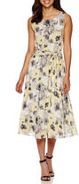 MSK Sleeveless Floral Belted Fit-and-Flare Dress