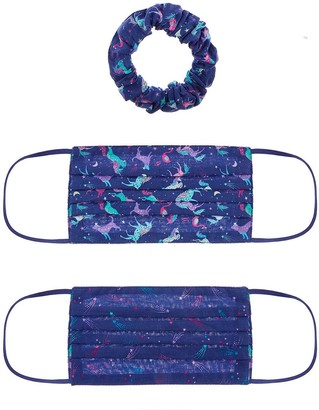 Monsoon Girls 2 Pack Unicorn Face Covers and Scrunchie Set- Navy