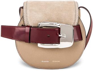 Proenza Schouler Mini Leather & Suede Buckle Crossbody Bag in Light Taupe | FWRD
