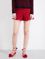 RED Valentino Ruffled high-rise twill shorts