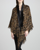 Sofia Cashmere Fox Fur-Trim Leopard-Print Shawl