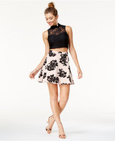 Trixxi Juniors' 2-Pc. Lace Flocked Dress